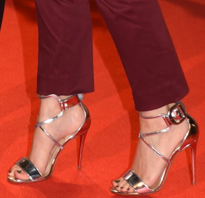 "Kate Mara wearing Christian Louboutin ""Choca"" sandals at the ""My Days of Mercy"" premiere during the 2017 Toronto International Film Festival"