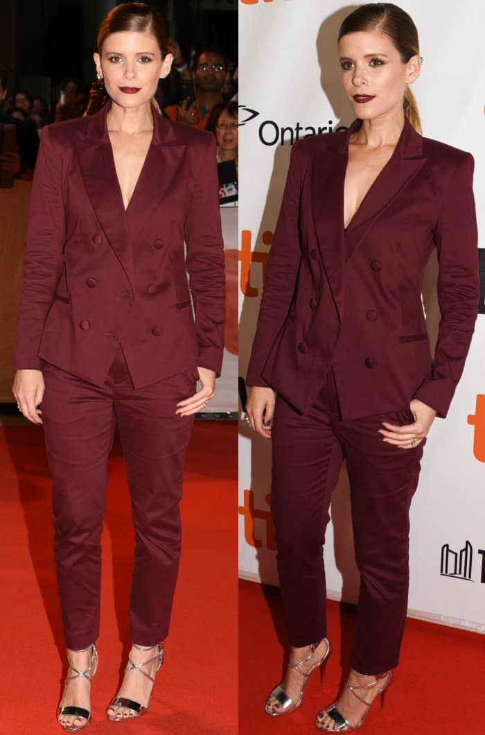 "Kate Mara wearing a maroon two-piece suit and Christian Louboutin ""Choca"" sandals at the ""My Days of Mercy"" premiere during the 2017 Toronto International Film Festival"