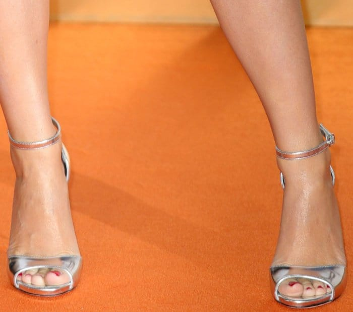 "Kylie Minogue wearing silver ankle-strap sandals at the ""Kingsman: The Golden Circle"" world premiere"