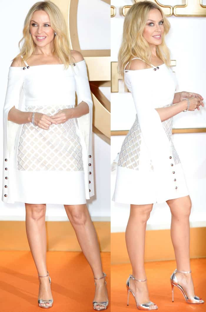 "Kylie Minogue wearing a David Koma Spring 2017 dress and silver ankle-strap sandals at the ""Kingsman: The Golden Circle"" world premiere"