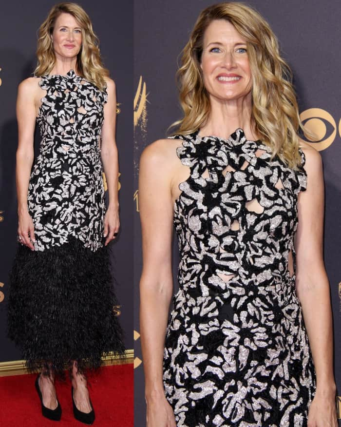 Laura Dern wearing a Proenza Schouler Spring 2018 dress and black pointy-toe pumps at the 69th Emmy Awards