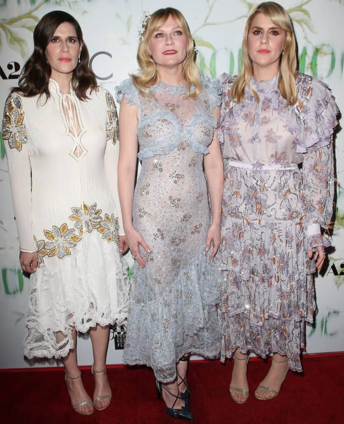 "Laura Mulleavy, Kirsten Dunst, and Kate Mulleavy at the ""Woodshock"" premiere"