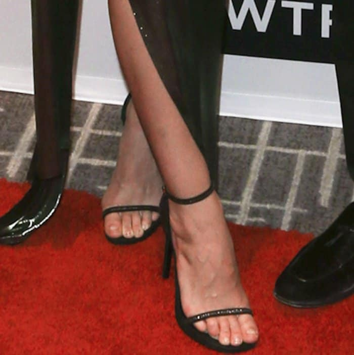"""Lily Aldridge wearing Saint Laurent """"Jane"""" sandals at the Daily Front Row's Fashion Media Awards"""