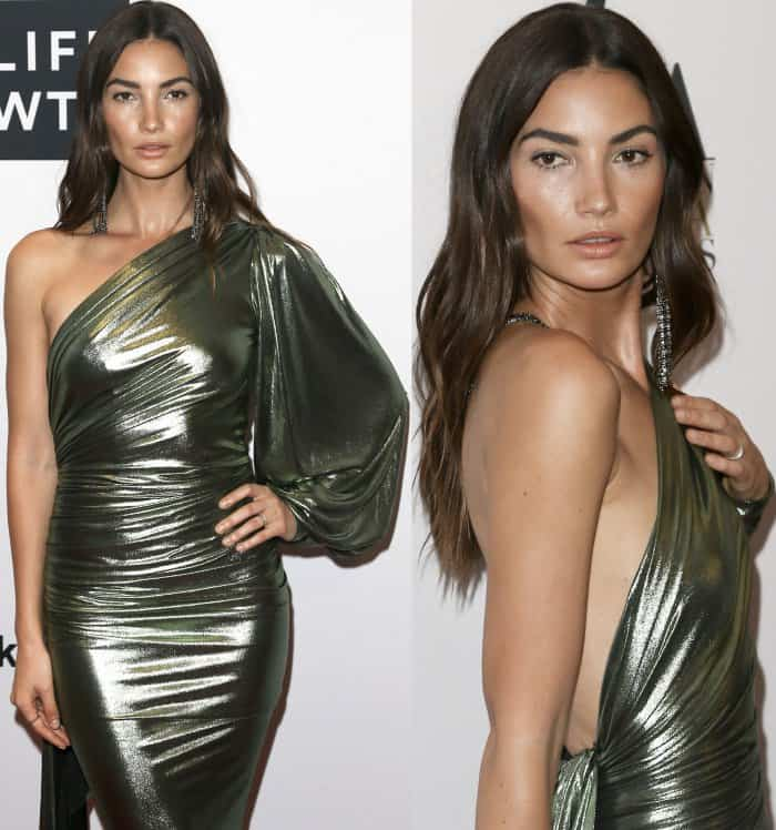 """Lily Aldridge wearing an Alexandre Vauthier Fall 2017 Couture gown and Saint Laurent """"Jane"""" sandals at the Daily Front Row's Fashion Media Awards"""
