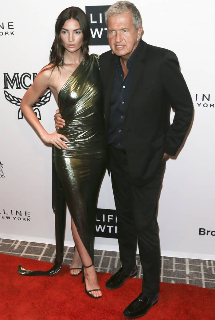 Lily Aldridge with renowned fashion photographer Mario Testino at the Daily Front Row's Fashion Media Awards