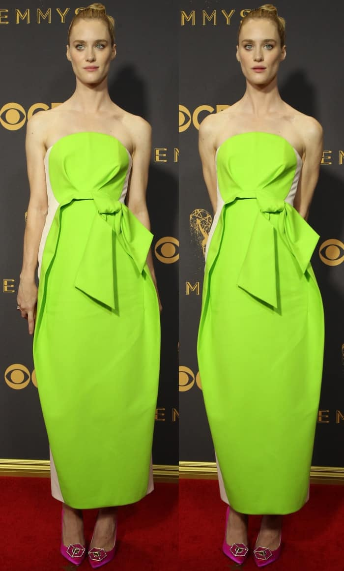 Mackenzie Davis in a Delpozo color-block design featuring a neon green front panel at the 69th Emmy Awards held at the Microsoft Theater in Los Angeles, California, on September 17, 2017