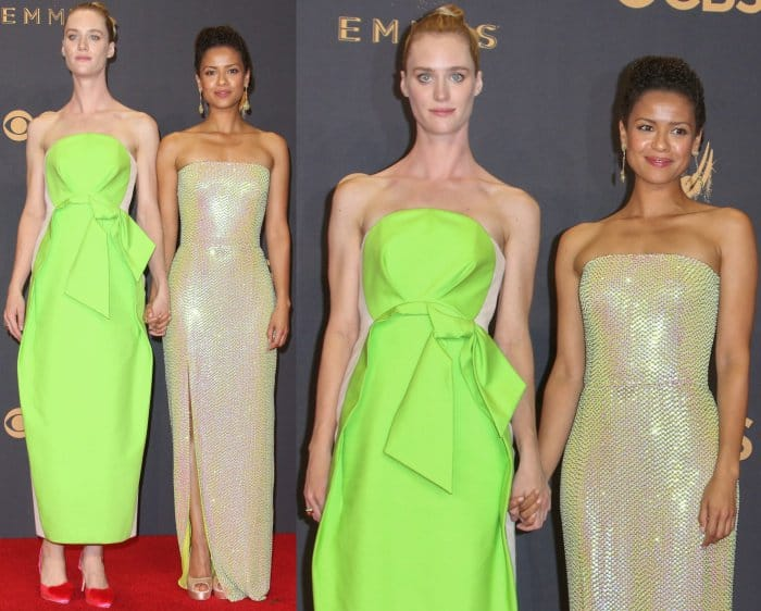 """Mackenzie Davis and Gugu Mbatha-Raw captivated on the 69th Emmy Awards red carpet with their winning looks. The """"Black Mirror"""" stars looked stunning as they posed for photographs together and showcased their contrasting styles"""