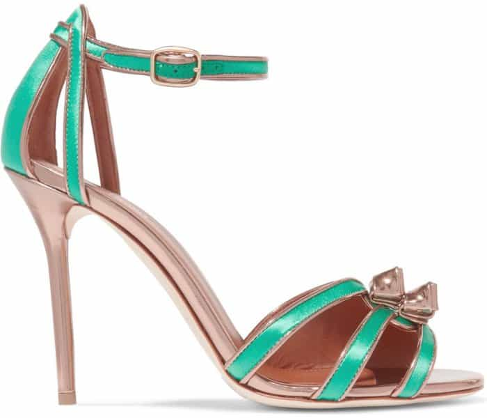 "Malone Souliers ""Eunice"" metallic leather-trimmed satin sandals"