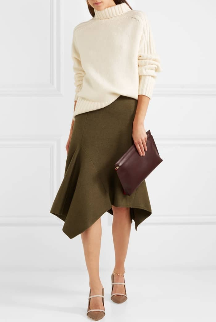 "Model wearing Aquazzura's ""Maureen"" mules with a Joseph ribbed turtleneck sweater and a Jason Wu asymmetric skirt"