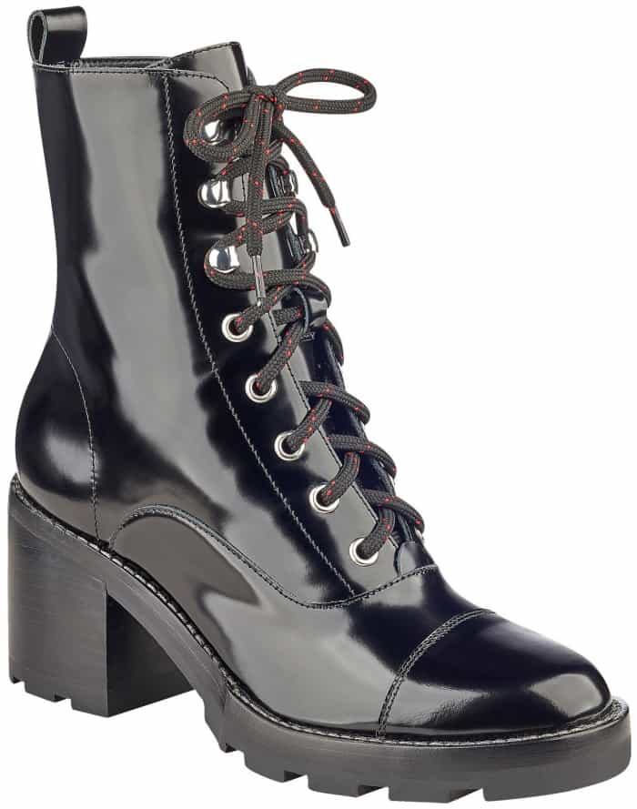 "Marc Fisher LTD ""Wanya"" lace-up ankle boots in black lux multi leather"