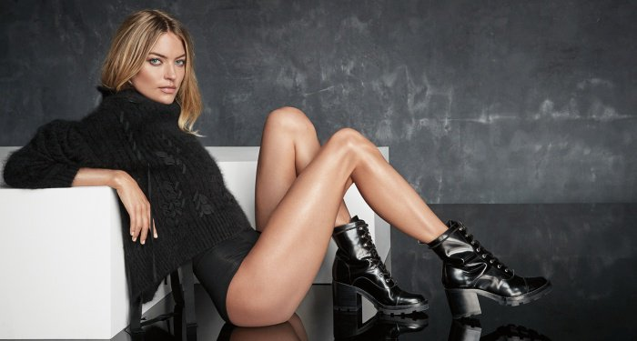 "Martha Hunt wearing the ""Wanya"" boots for Marc Fisher's Fall/Winter 2017 campaign"