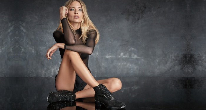 "Martha Hunt wearing the ""Cassidey"" ankle booties for Marc Fisher's Fall/Winter 2017 campaign"