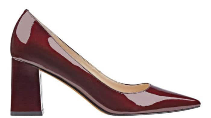 "Marc Fisher LTD ""Zala"" block-heel pointy-toe pumps in dark red patent"