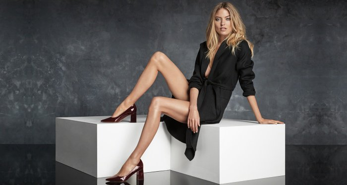 "Martha Hunt wearing the ""Zala"" pumps for Marc Fisher's Fall/Winter 2017 campaign"