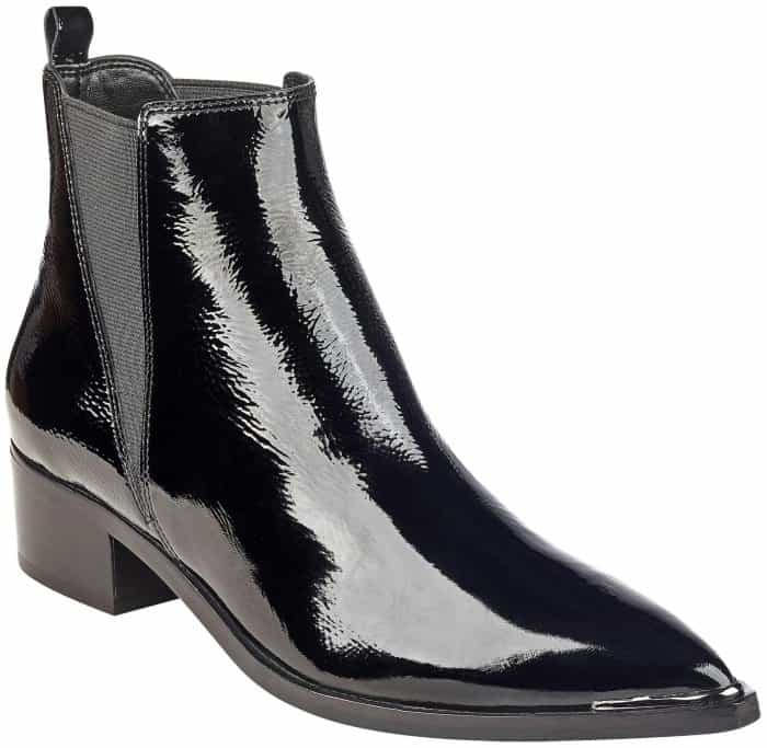 "Marc Fisher LTD ""Yale"" pointy-toe Chelsea booties in black patent"