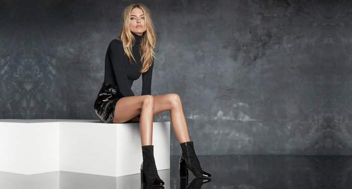 "Martha Hunt wearing the ""Tache"" ankle boots for Marc Fisher's Fall/Winter 2017 campaign"