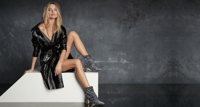 "Martha Hunt wearing the ""Grazi2"" ankle boots for Marc Fisher's Fall/Winter 2017 campaign"