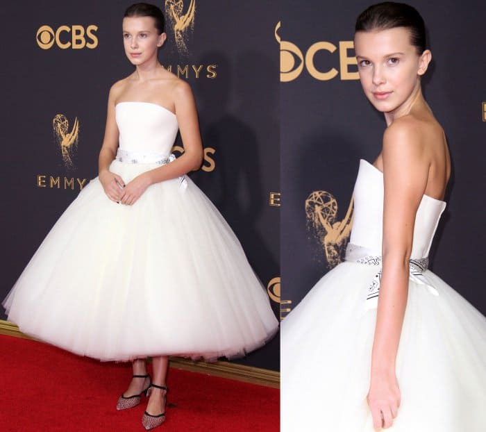 Millie Bobby Brown wearing a Calvin Klein By Appointment gown and Calvin Klein 205W39NYC slingback pumps at the 69th Emmy Awards