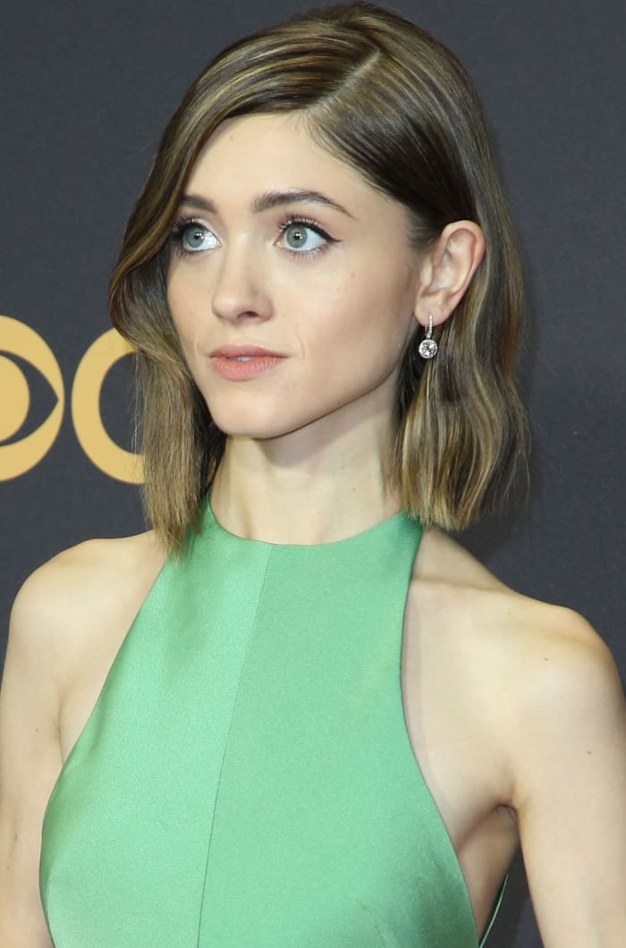 Natalia Dyer wearing a custom Vera Wang gown at the 69th Emmy Awards
