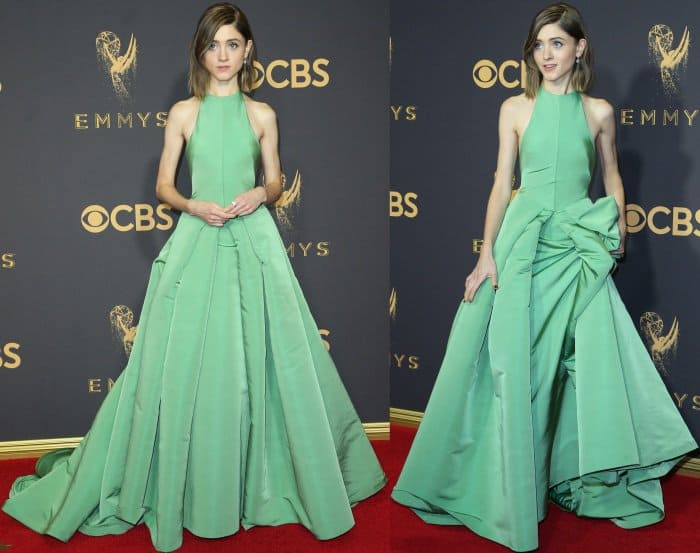 Natalia Dyer wearing a custom Vera Wang gown and Jimmy Choo shoes at the 69th Emmy Awards
