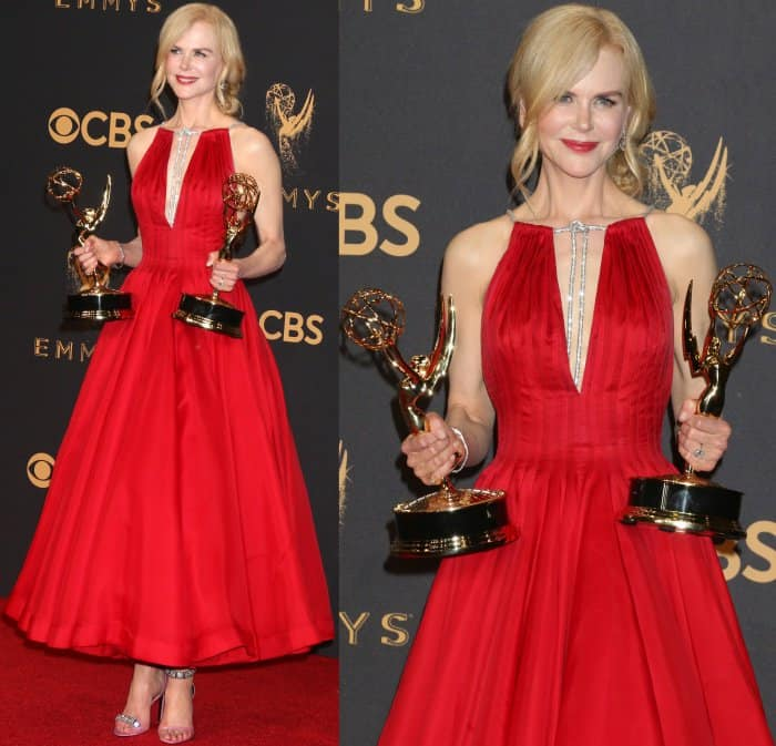 Nicole Kidman showing off her Emmy awards at the 69th Emmy Awards press room