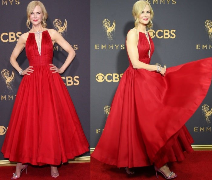 "Nicole Kidman wearing a Calvin Klein By Appointment dress and Calvin Klein 205W39NYC ""Camelle"" sandals at the 69th Emmy Awards"