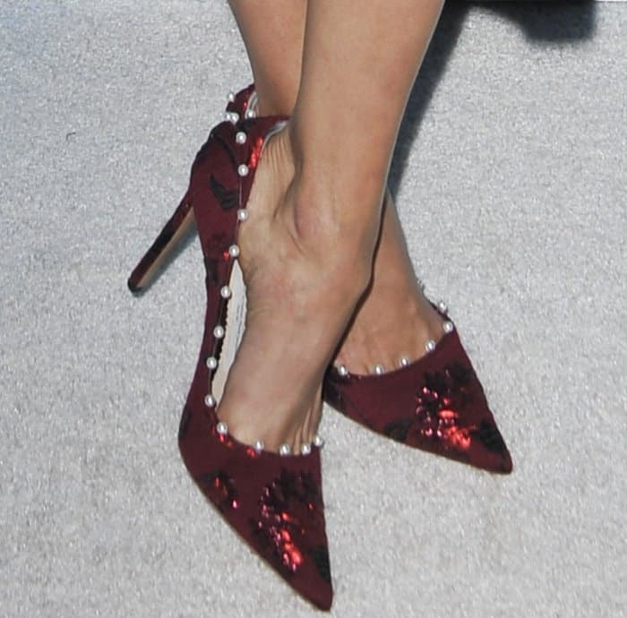 Nina Dobrev wearing red embellished pointy-toe pumps at Variety and Women in Film's 2017 Pre-Emmy party
