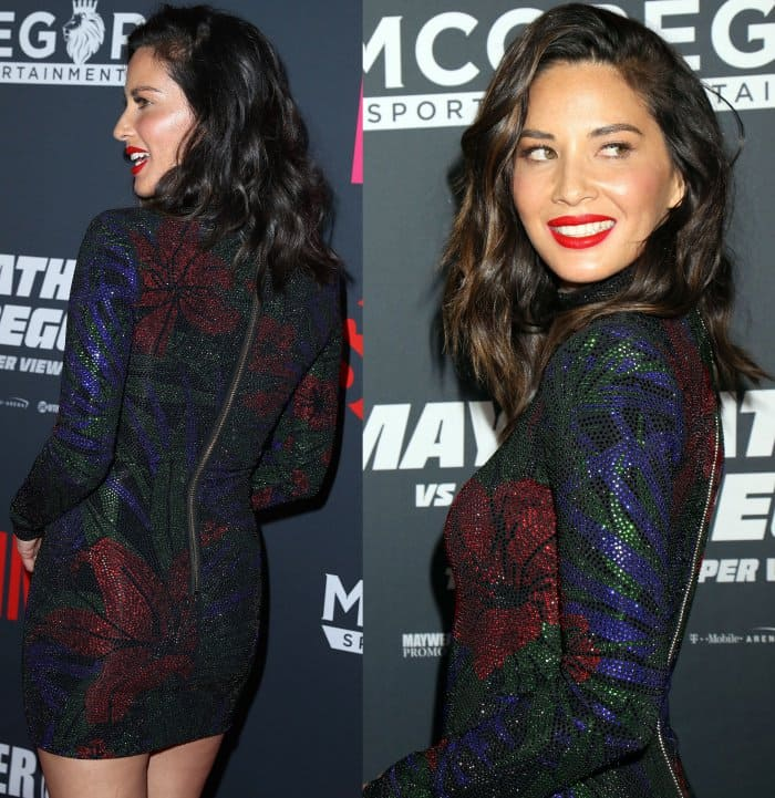Olivia Munn wearing an embellished Balmain dress at the Mayweather vs. McGregor pre-fight VIP party
