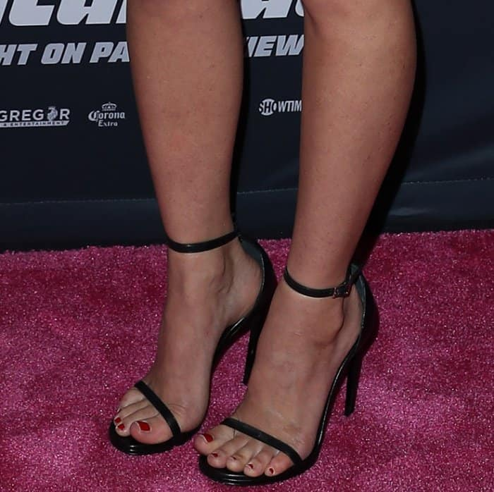 "Olivia Munn wearing classic Saint Laurent ""Jane"" sandals at the Mayweather vs. McGregor pre-fight VIP party"