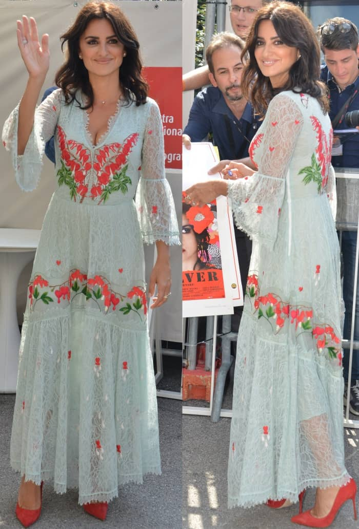 "Penelope Cruz wearing a Temperley London Resort 2018 dress and Sergio Rossi pointy-toe pumps at the ""Loving Pablo"" photocall during the 74th Venice Film Festival"