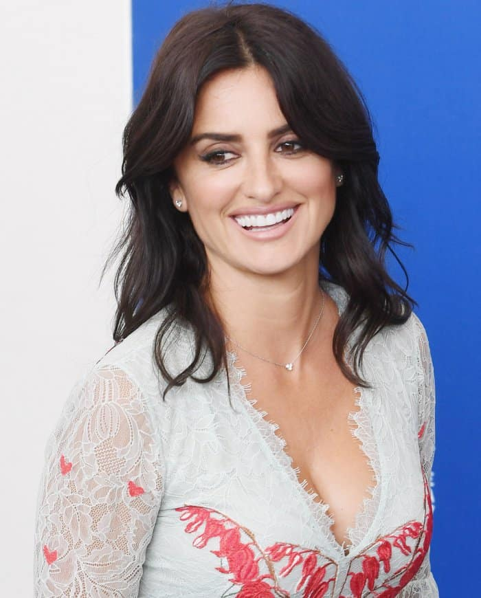 "Penelope Cruz wearing a Temperley London Resort 2018 dress at the ""Loving Pablo"" photocall during the 74th Venice Film Festival"