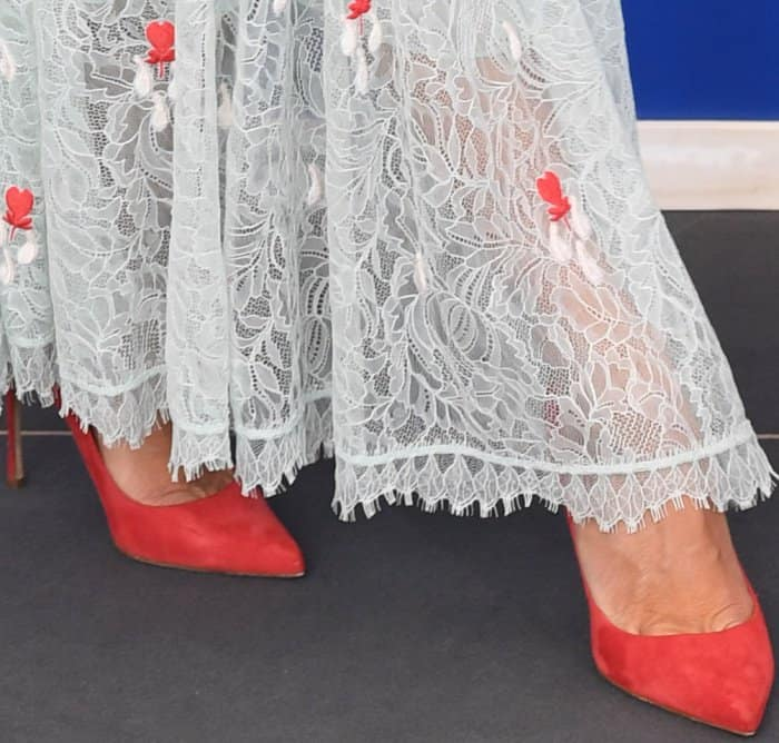 "Penelope Cruz wearing Sergio Rossi pointy-toe pumps at the ""Loving Pablo"" photocall during the 74th Venice Film Festival"