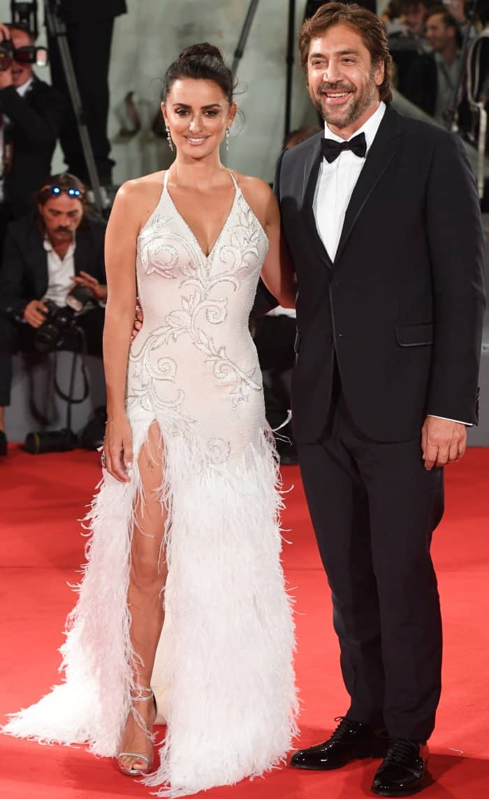 "Javier Bardem and Penelope Cruz at the ""Loving Pablo"" premiere during the 74th Venice Film Festival"