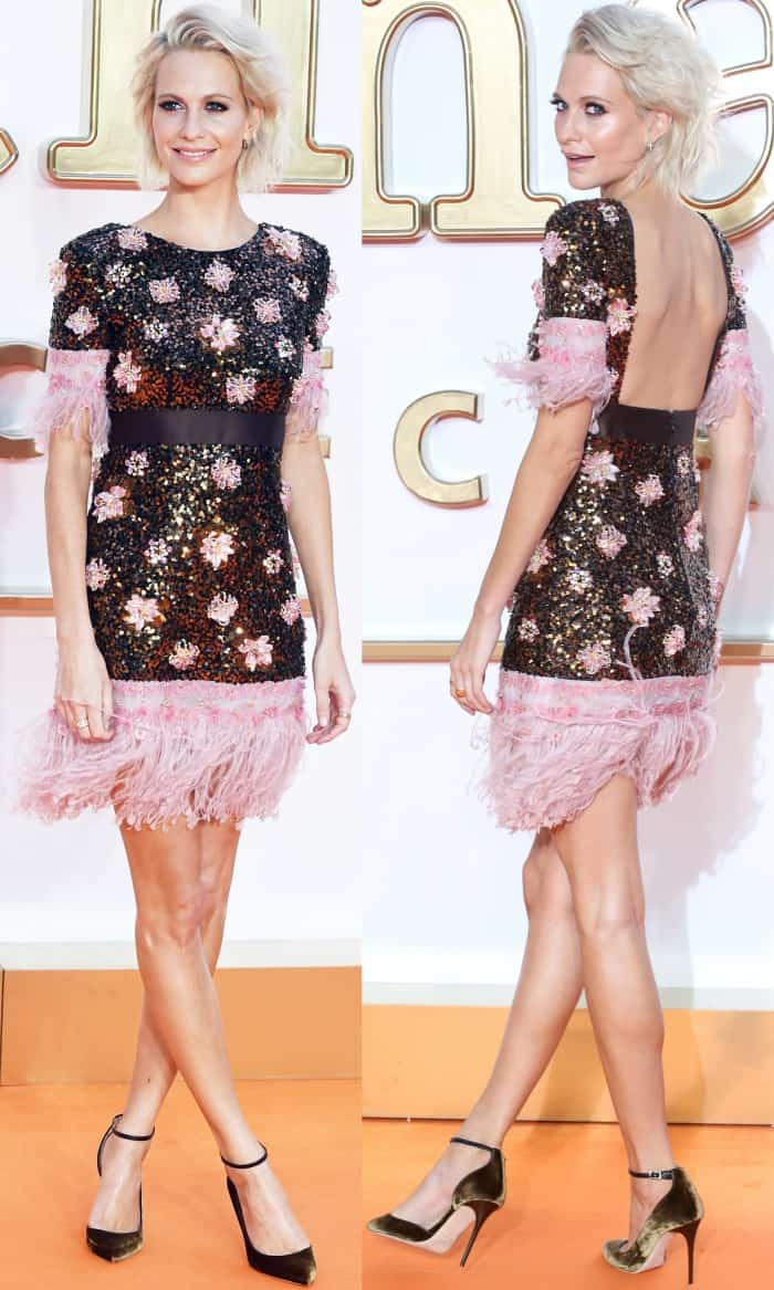 """Poppy Delevingne wearing a Chanel Pre-Fall 2017 dress and black ankle-strap pumps at the """"Kingsman: The Golden Circle"""" world premiere"""