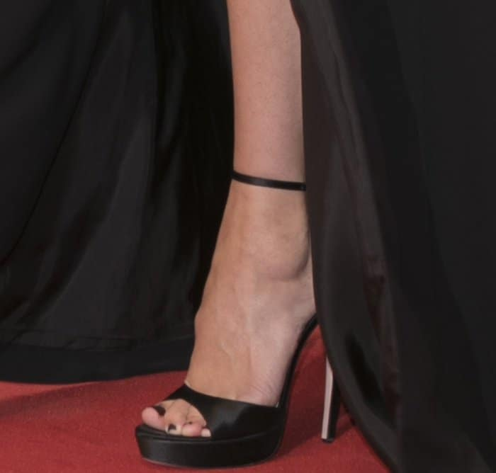 "Rebecca Hall wearing black ankle-strap platform sandals at the ""Suburbicon"" premiere during the 74th Venice Film Festival"