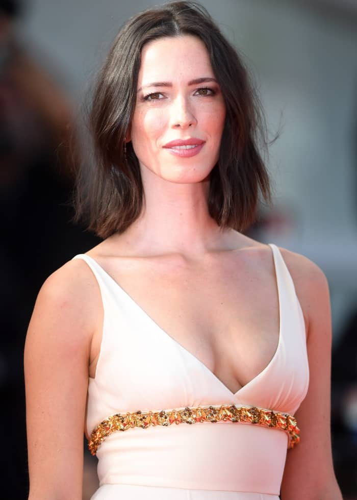 "Rebecca Hall wearing a Prada ivory georgette gown at the ""First Reformed"" premiere during the 74th Venice Film Festival"