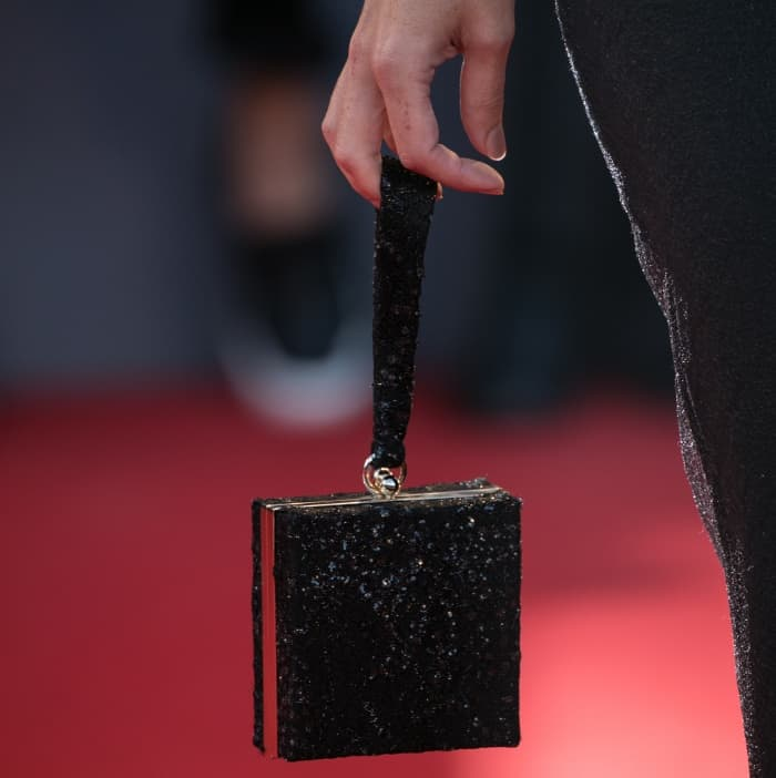 "Rebecca Hall carrying a black embellished box clutch at the ""Mother!"" premiere during the 74th Venice Film Festival"