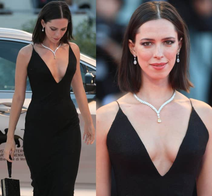 "Rebecca Hall wearing a Giorgio Armani dress at the ""Mother!"" premiere during the 74th Venice Film Festival"