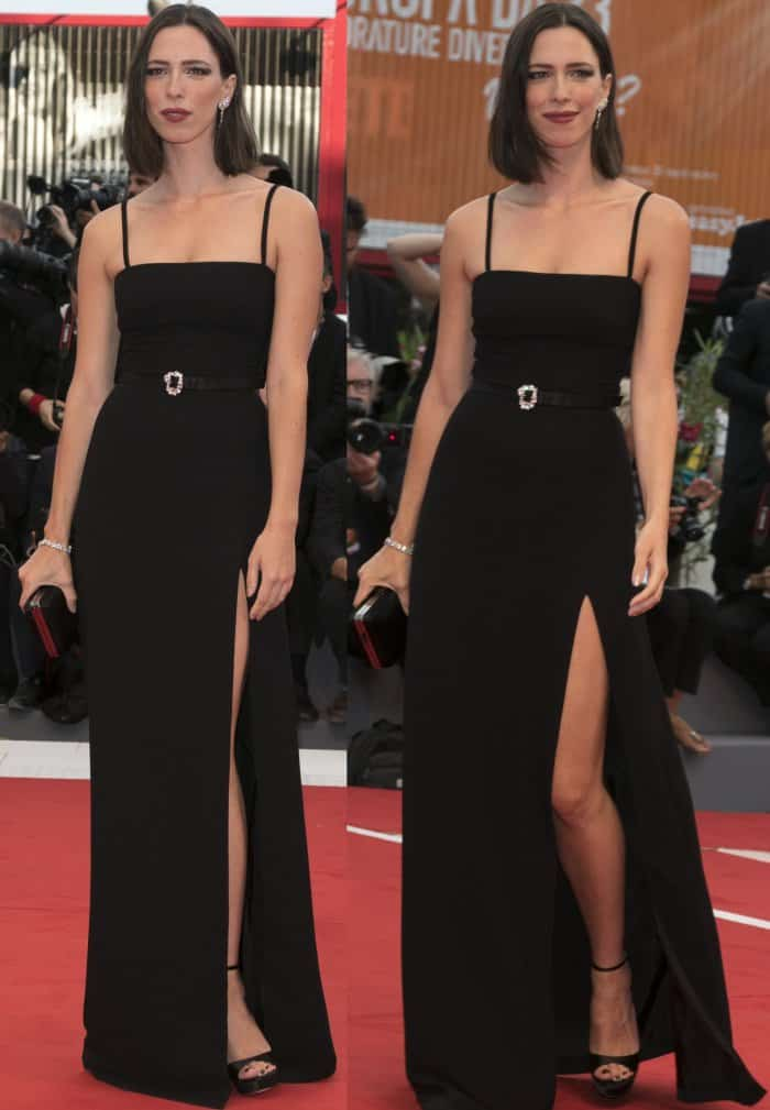 "Rebecca Hall wearing a Prada floor-length gown and black sandals at the ""Suburbicon"" premiere during the 74th Venice Film Festival"