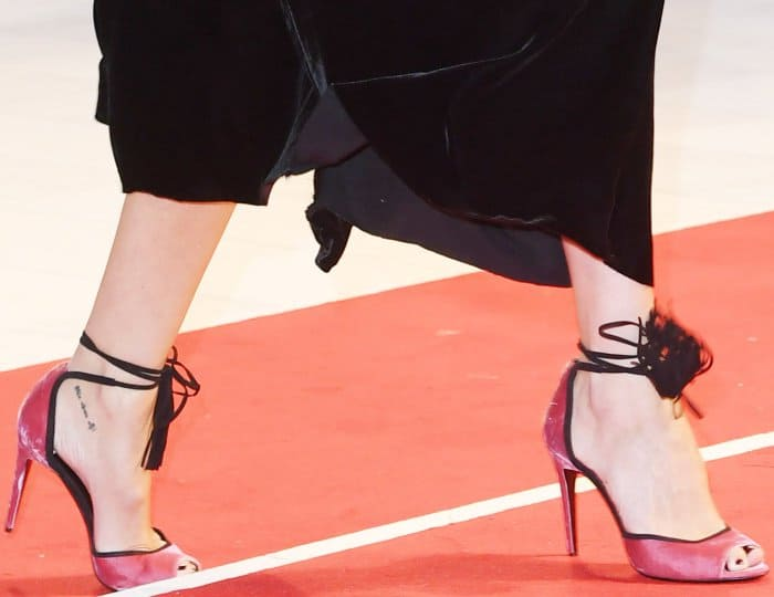"Rebecca Hall wearing Pierre Hardy ""Majorelle"" sandals at the ""Three Billboards Outside Ebbing, Missouri"" premiere during the 74th Venice Film Festival"