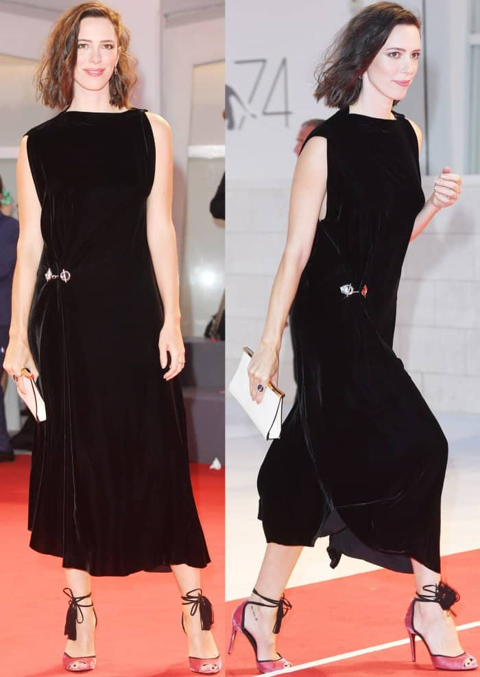 "Rebecca Hall wearing a Monse Fall 2017 dress and Pierre Hardy ""Majorelle"" sandals at the ""Three Billboards Outside Ebbing, Missouri"" premiere during the 74th Venice Film Festival"