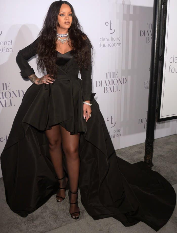 30c2c0d8cdc5 Rihanna Dramatic in Ralph   Russo Gown and Giuseppe Zanotti  Harmony   Sandals