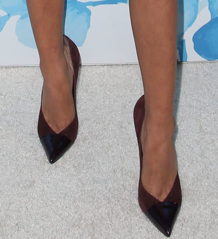 "Sarah Hyland wearing Casadei ""Candylux"" pointy-toe pumps at Variety and Women in Film's 2017 Pre-Emmy party"