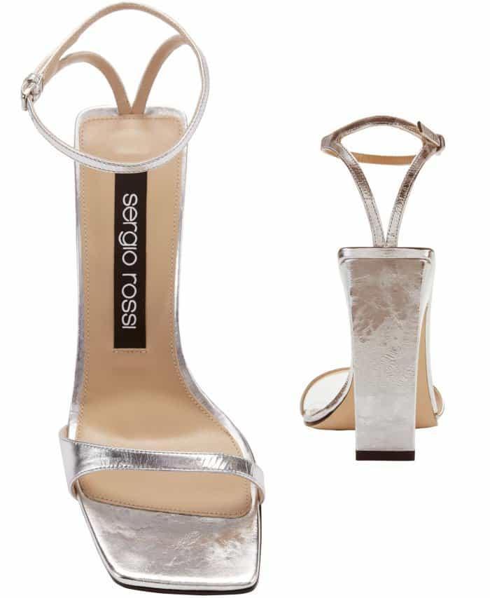 "Sergio Rossi ""Sr1"" silver laminated leather sandals"