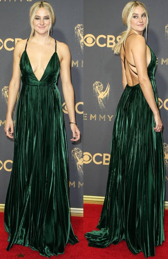 Shailene Woodley wearing a custom Ralph Lauren gown and Stuart Weitzman platform sandals at the 69th Emmy Awards