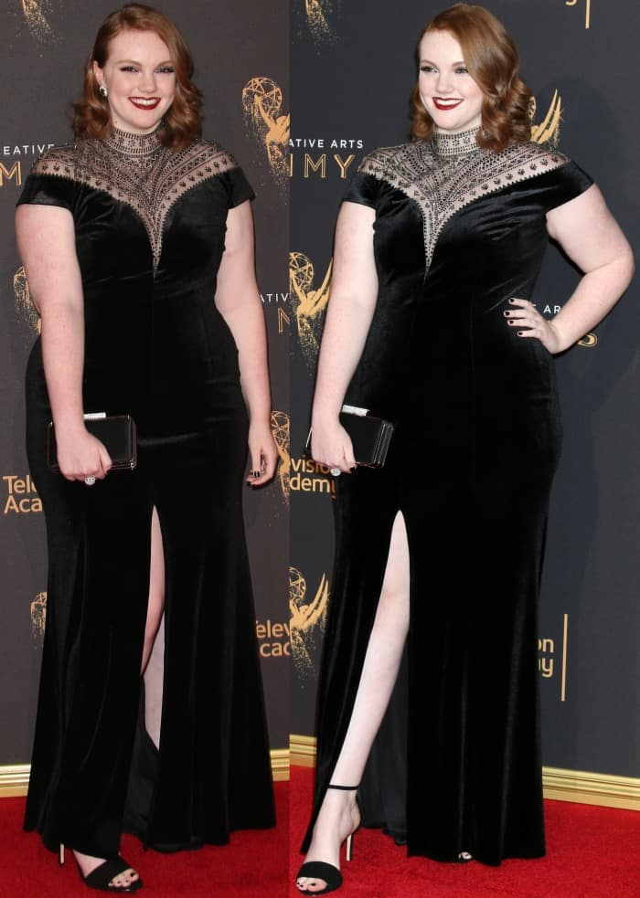"""Shannon Purser wearing the black velvet """"Esmeralda"""" gown from Tadashi Shoji and black ankle-strap sandals from Aldo at the 2017 Creative Arts Emmy Awards"""