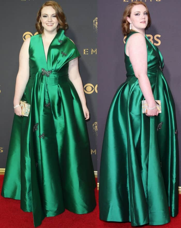 Shannon Purser wearing a custom emerald green Sachin & Babi gown and L.K. Bennett shoes at the 69th Emmy Awards