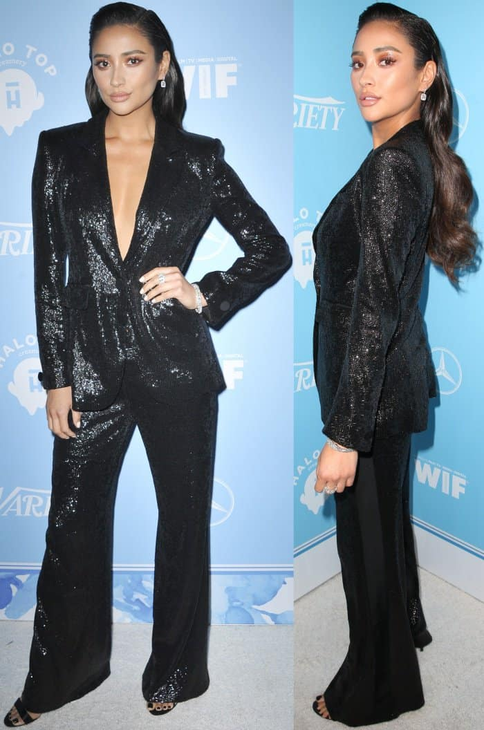 "Shay Mitchell wearing a Rachel Zoe Fall 2017 suit and Giuseppe Zanotti ""Georgina"" sandals at Variety and Women in Film's 2017 Pre-Emmy party"