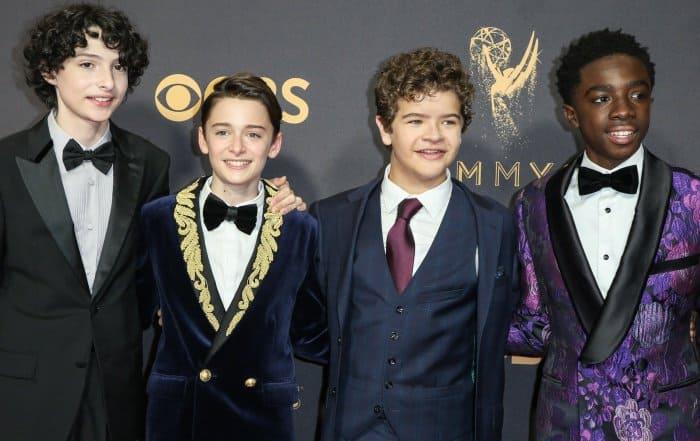 Finn Wolfhard, Noah Schnapp, Gaten Matarazzo, and Caleb McLaughlin at the 69th Emmy Awards