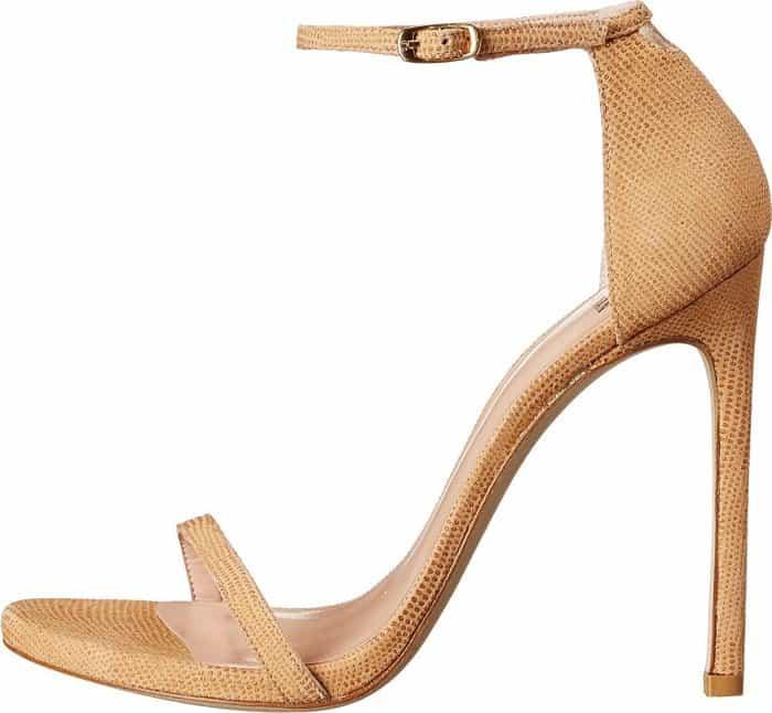 """Stuart Weitzman """"Nudist"""" sandals in pan goose bump nappa"""